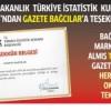 Başbakanlık Türkiye İstatistik Kurumu'ndan Gazete Bağcılar'a teşekkür belgesi