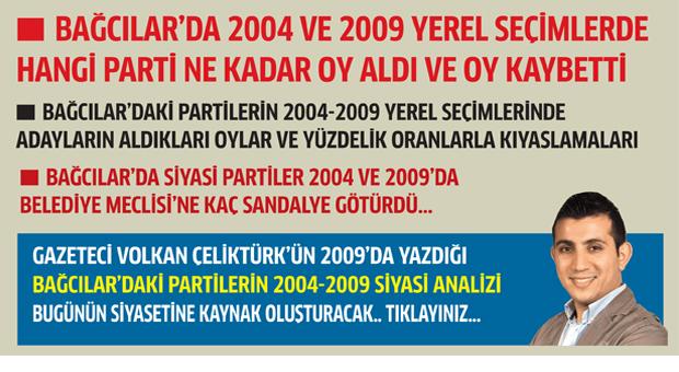 Bağcılar'da 2004 ve 2009'da hangi parti ne kadar oy kaybetti